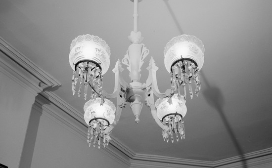 Historic American Buildings Survey J. Alexander, Photographer August 1968 GAS LIGHT FIXTURE IN FRONT PARLOR - Grafton Tyler Double House, 1314 Thirtieth Street Northwest, Washington, District of Columbia, DC