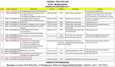 Jadwal Pra Kuliah Oktober 2017 PSPP Makassar