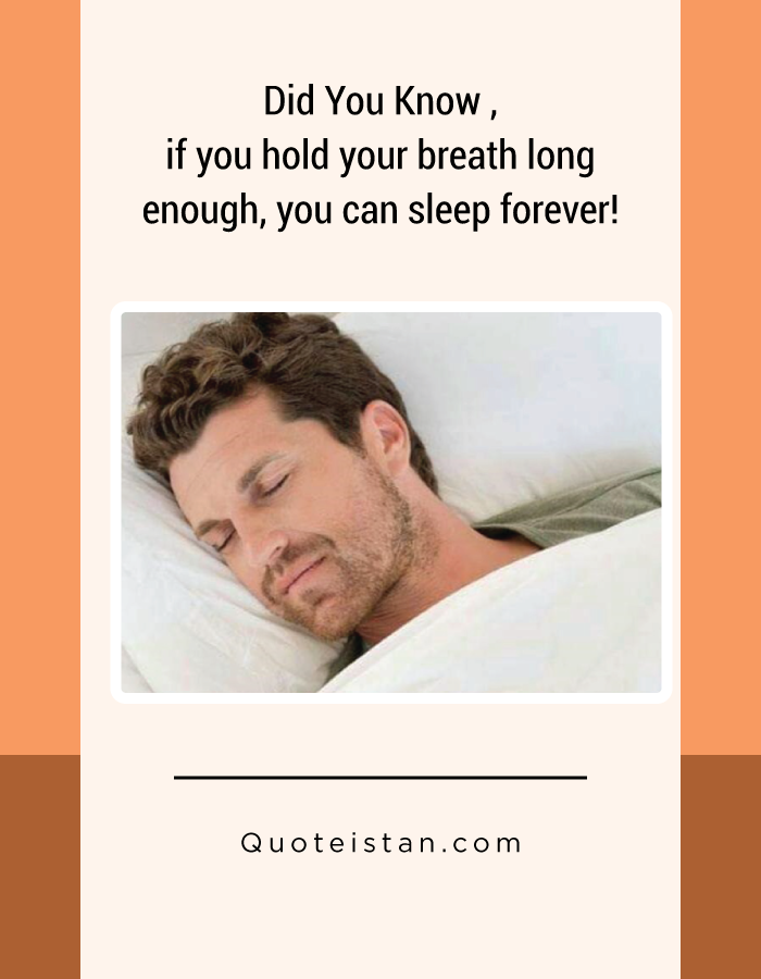 Did You Know , if you hold your breath long enough, you can sleep forever!