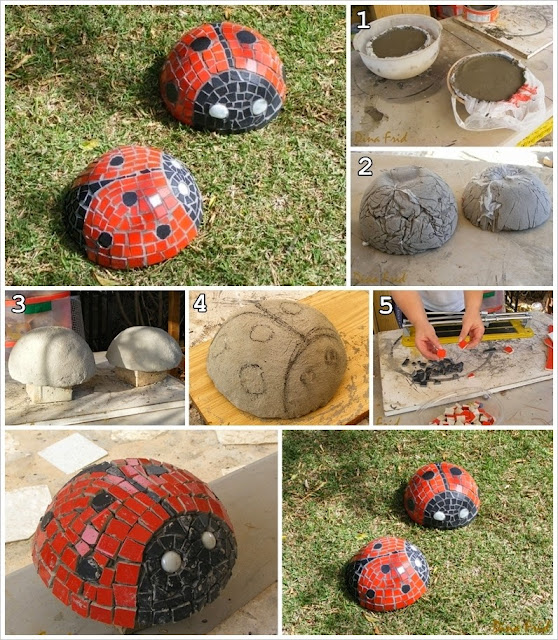 [DIY] Mosaic Ladybugs for Your Garden