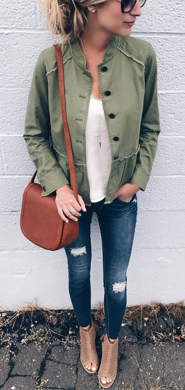cute outfit of the day : jacket + white top + bag + rips