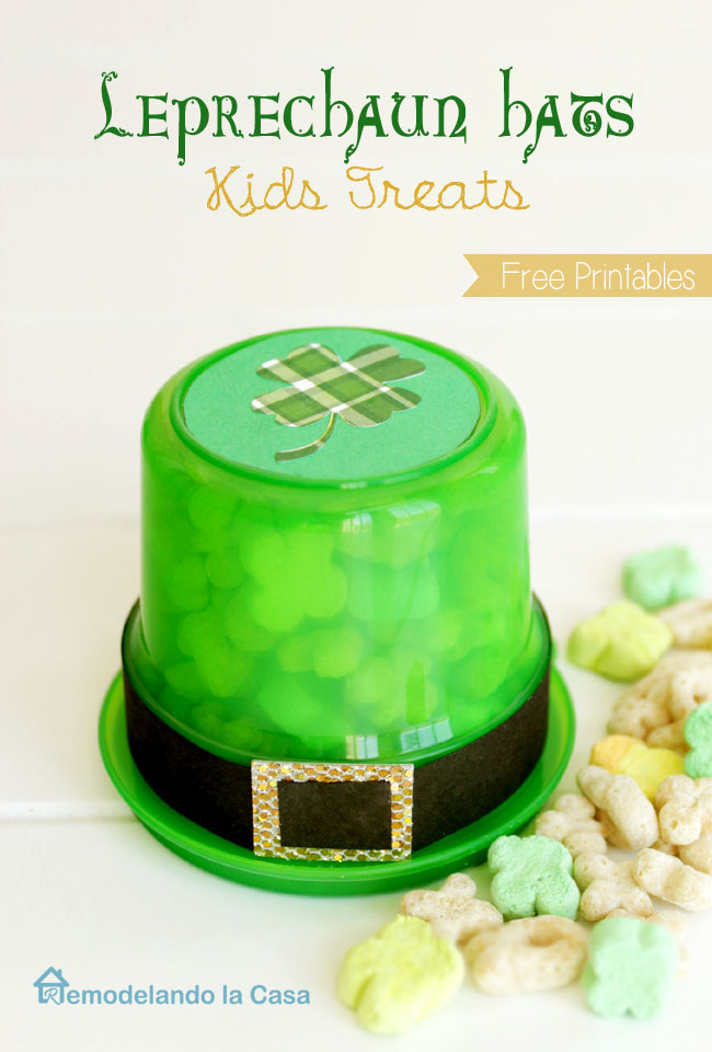 lucky charms inside snack cup as hat for St. Patrick's day