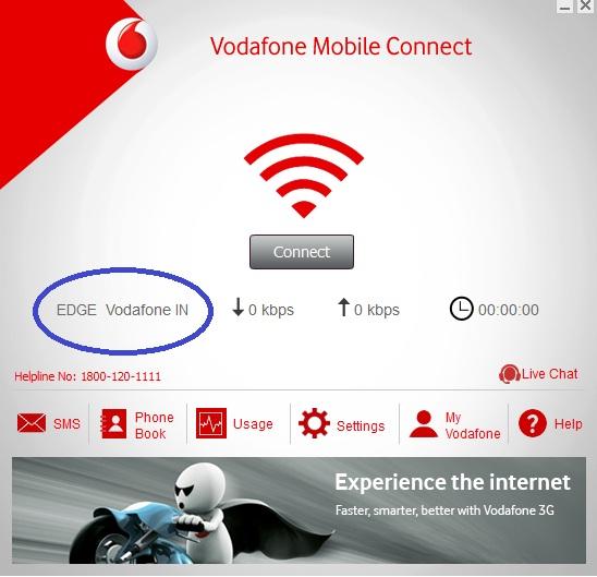 Vodafone data card not working properly Shows Edge ,Green Light