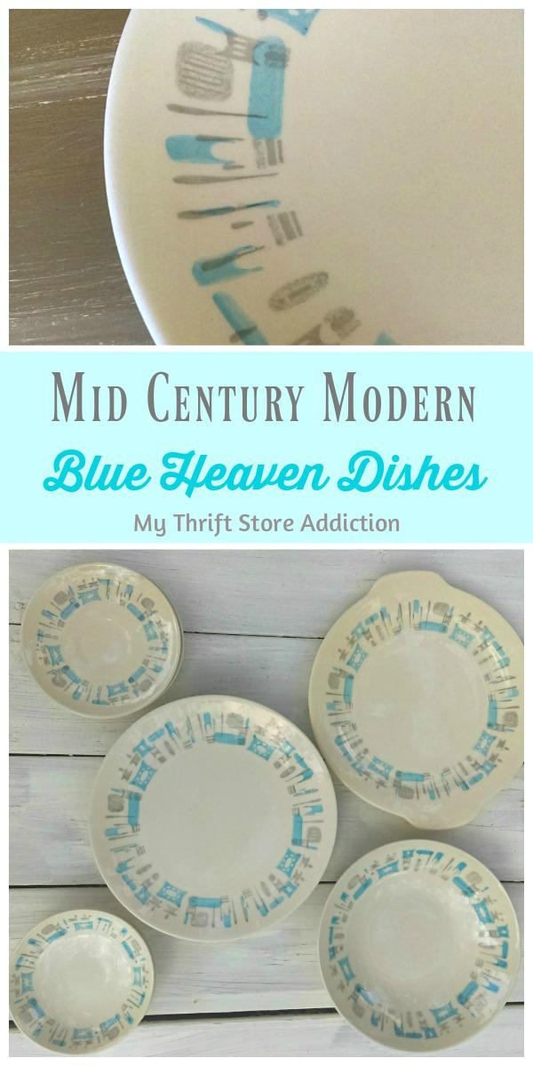 mid century modern blue heaven dishware