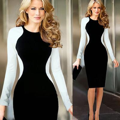 Beli oldukça ince ve zayıf gösteren siyah beyaz elbise