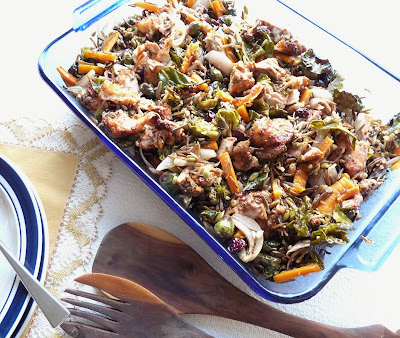 Chicken & Wild Rice Salad with Roasted Vegetables, Seeds, & Dried Cranberries