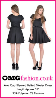Ava Black Cap Sleeved Belted Skater Dress
