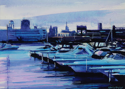 Acrylic painting of a boat harbor located in Buffalo, New York.