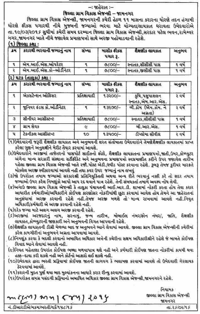 Jilla Gram Vikas Agency Jamnagar Various Recruitment 2016