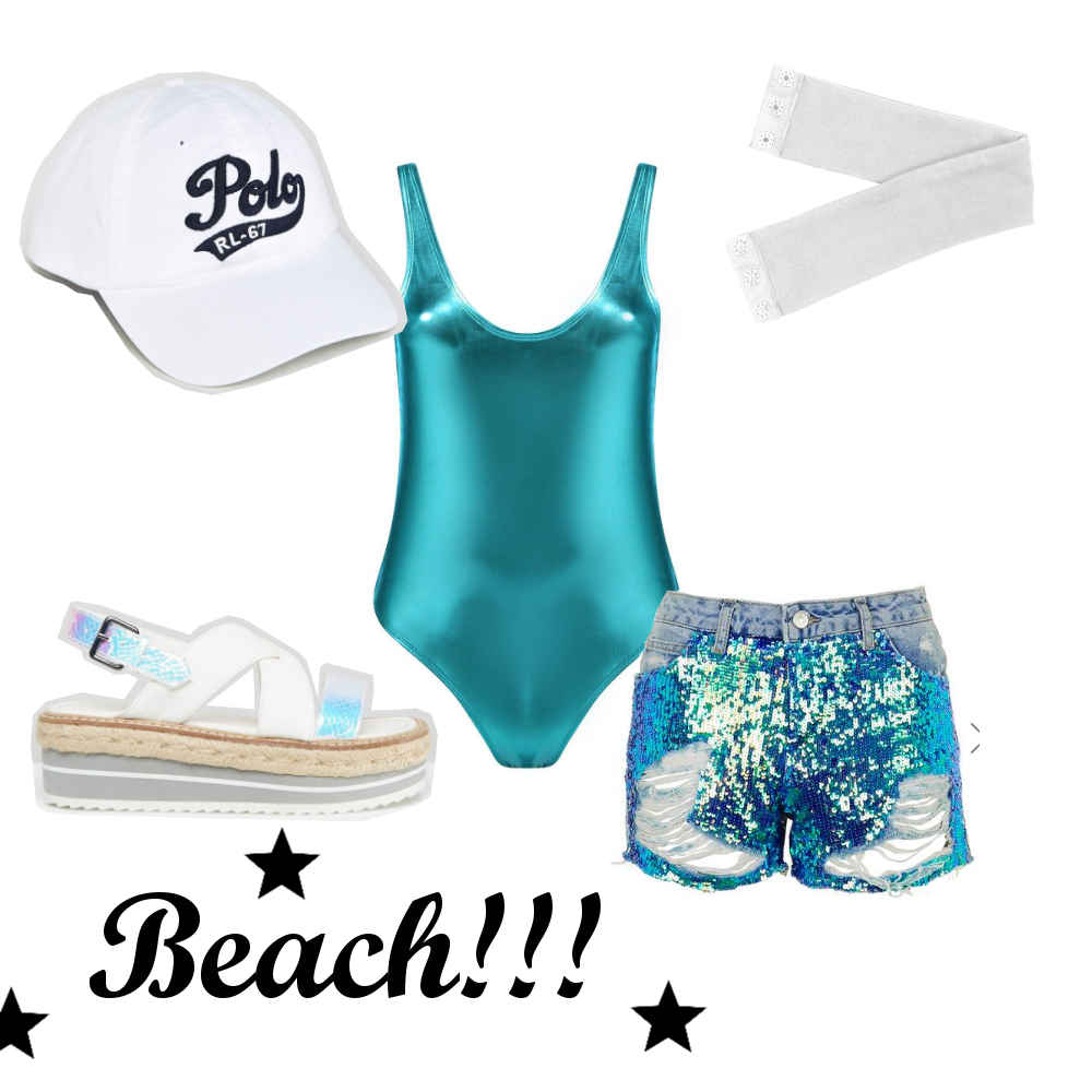 beach look, alternative grunge unique beach holiday pool ootd outfit, metallic swimsuit, sequin mermaid shorts, holiday festival fashion style inspiration, whit espadrilles, baseball cap