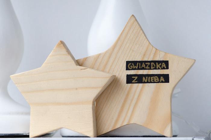 gwiazdki z drewna - prezent DIY