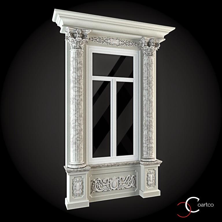 Ornamente Geamuri Exterior,Coloane Decorative,  fatade case cu profile decorative polistiren, profile fatada,  Model Cod: WIN-018