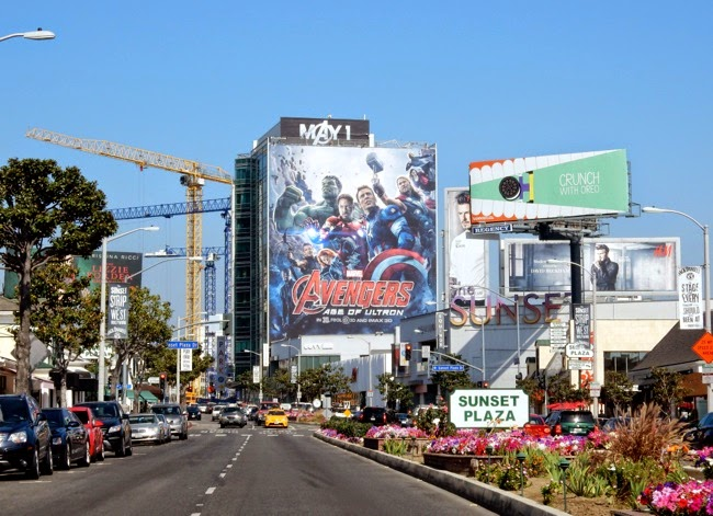 Giant Avengers Age of Ultron movie billboard Sunset Strip