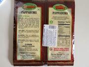 Pappadums: Embalagem