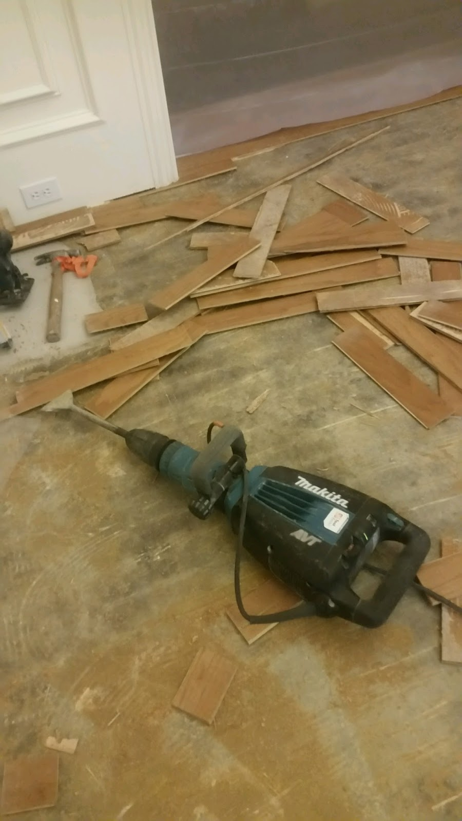 What Needs To Be Done First Is Use A Skill Saw And Set The Blade The Depth  Of The Thickness Of The Wood Flooring. Then You Want To Cut The Flooring  Strips ...