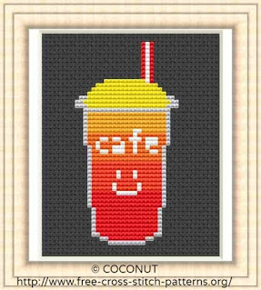 Free and easy printable Soft drink cross stitch pattern