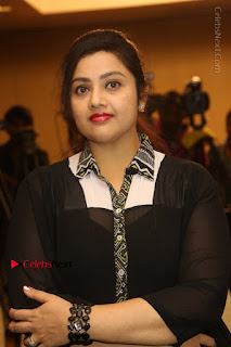 Tamil Actress Meena Latest Stills in Black Dress at TSR TV9 Awards Press Meet  0077.JPG