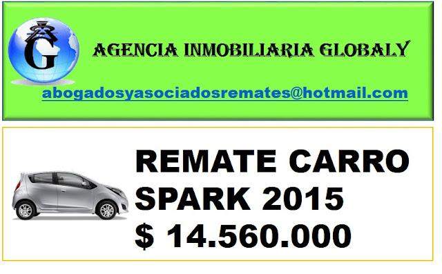 VENTA EN REMATE CARRO CHEVORLET SPARK 2015