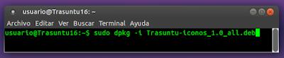 sudo dpkg -i Trasuntu-iconos_1.0_all.deb