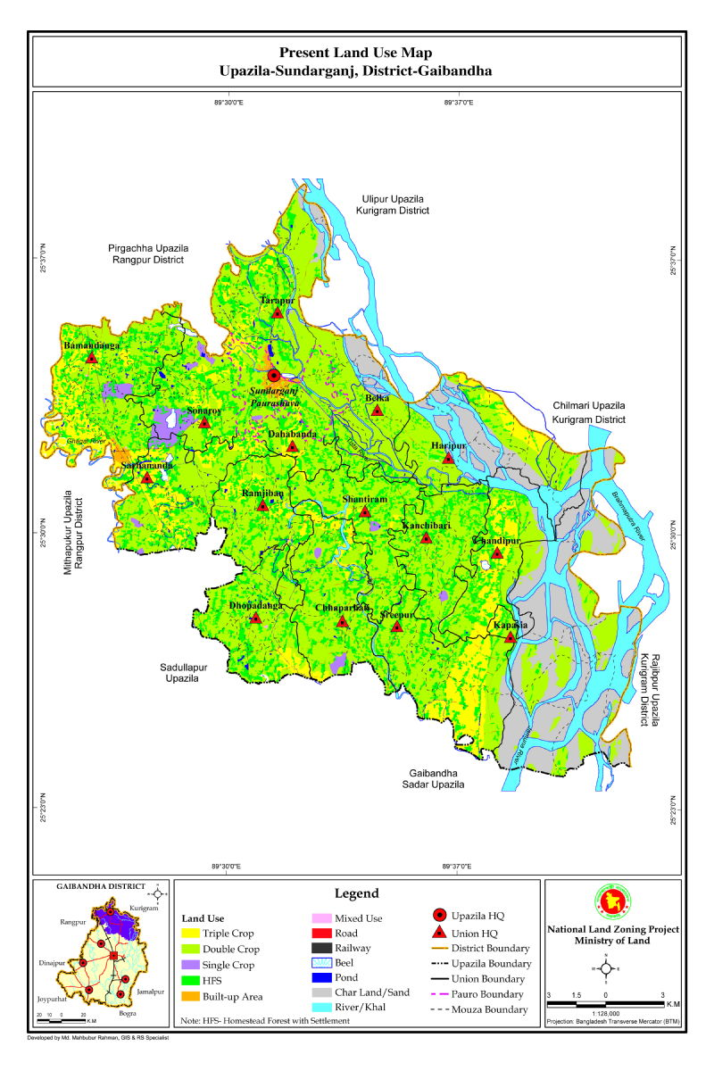 Sundarganj Upazila Mouza Map Gaibandha District Bangladesh