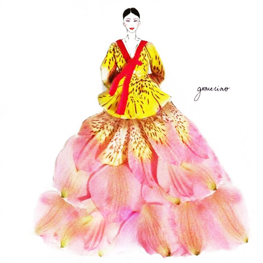 13-Korean-Traditional-Dress-Nature-and-Grace-Ciao-Design-and-Draw-Dresses-with-Petals-www-designstack-co