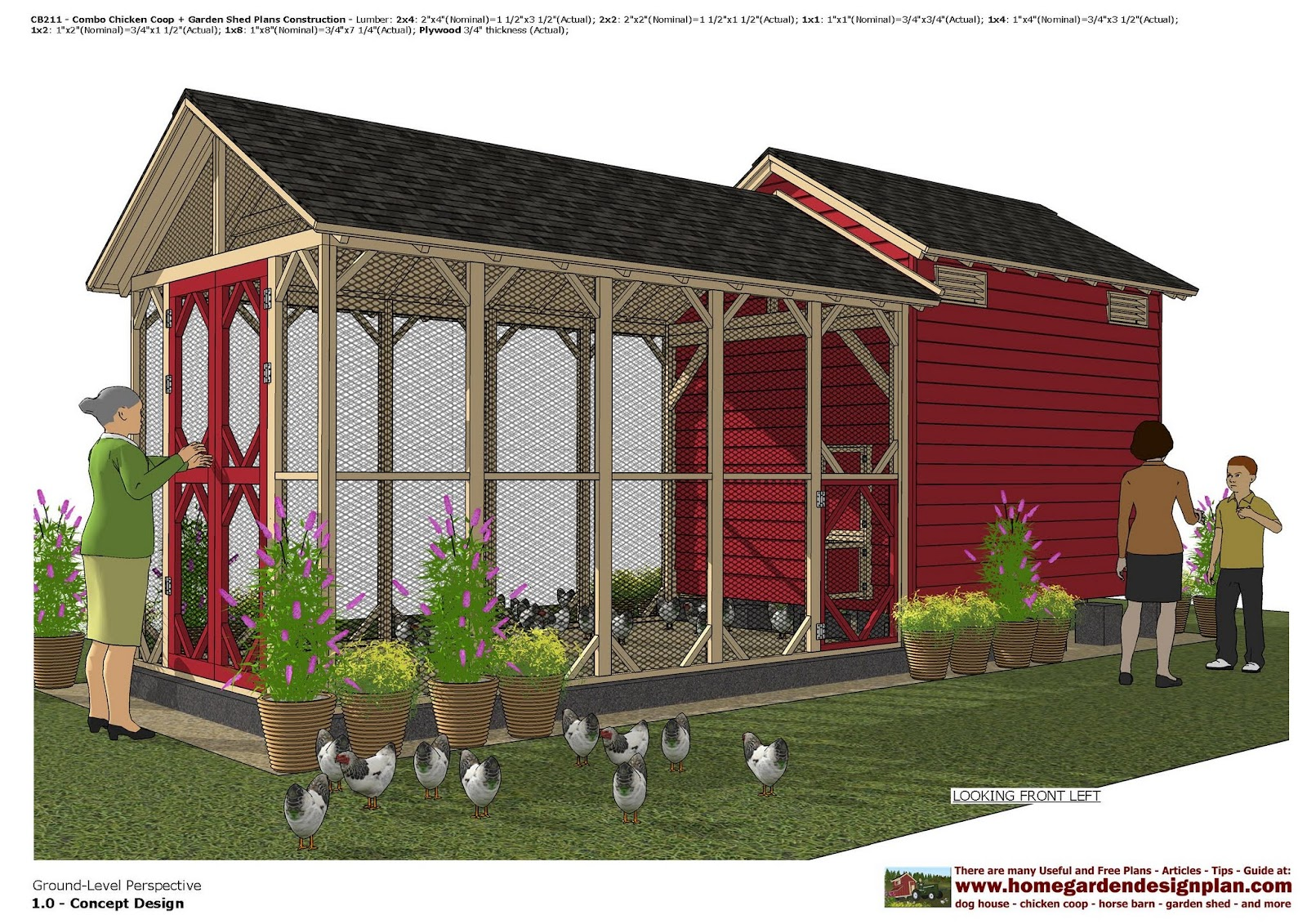 Garden Sheds 3 X 4 home garden plans: cb211 _ combo chicken coop + garden shed plans