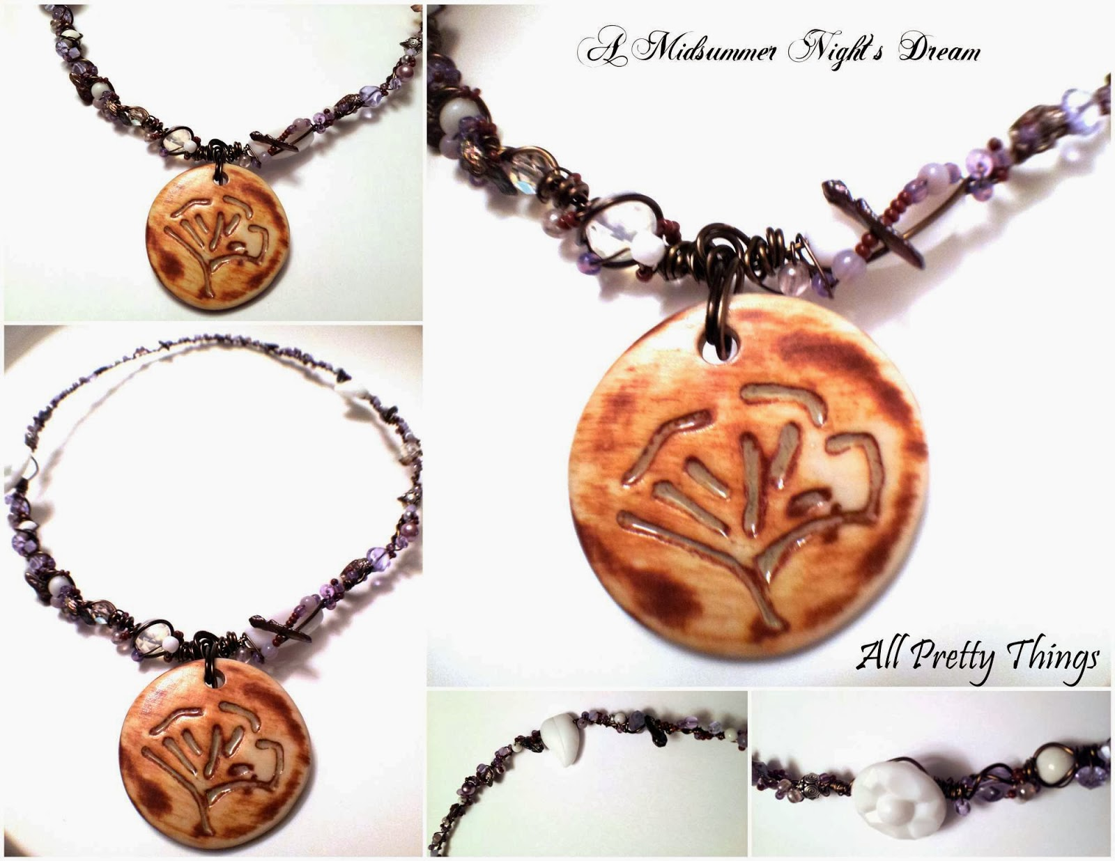 A Midsummer Night's Dream: organic, lush, ooak necklace with wire wrapped elements and Marla James ceramic focal :: All Pretty Things