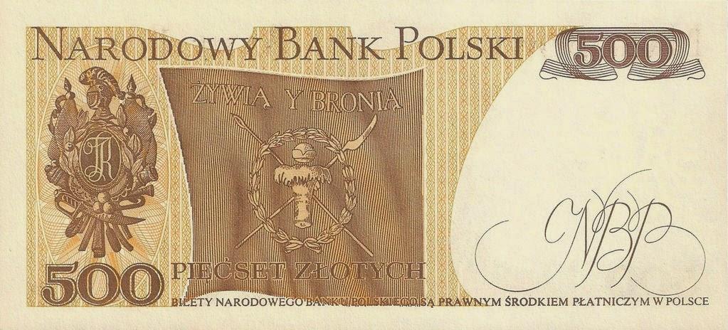Poland Banknotes 500 Zloty banknote 1982 Polish Flag Kosciuszko Uprising