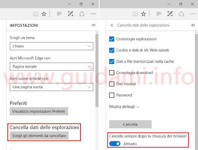 Microsoft Edge opzione per canellare cronologia alla chiusura