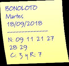 bonoloto hoy martes