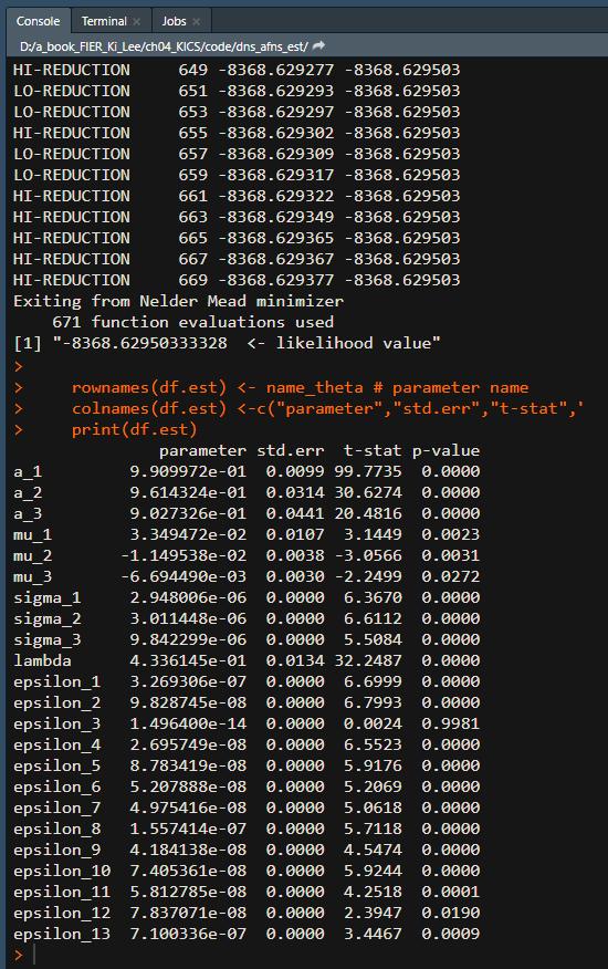 DNS model estimation R code