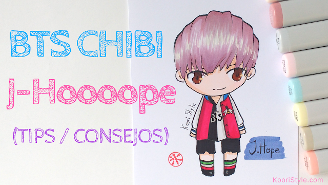 Koori Style, KooriStyle, Drawing, Speed Drawing, Copic, Staedtler, Markers, Marcadores, Rotuladores, BTS, Chibi, Dibujo, Tips, Consejos, Advice, Avisos, Cute ,Kawaii, Fanart, Jhope, HoSeok