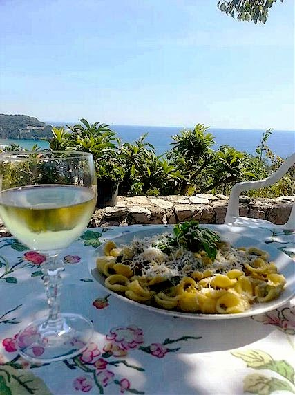 Home cooked Italian food on the terrace at Gaeta