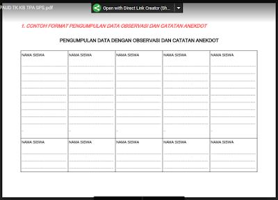 Format Data Observasi Anak PAUD/ TK/ KB/ RA/ TPA Kurikulum 2013