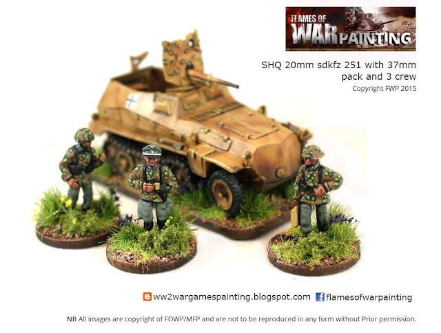 SHQ-sdkfz 251 with 37mm pack and 3 crew painted by Flames of War painting