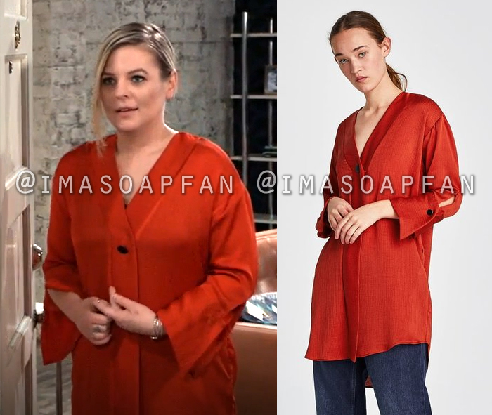 Maxie Jones, Kirsten Storms, Textured Red Tunic, General Hospital, GH