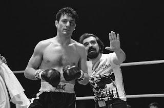 Martin Scorsese y Robert De Niro en el ring durante el rodaje de Toro salvaje