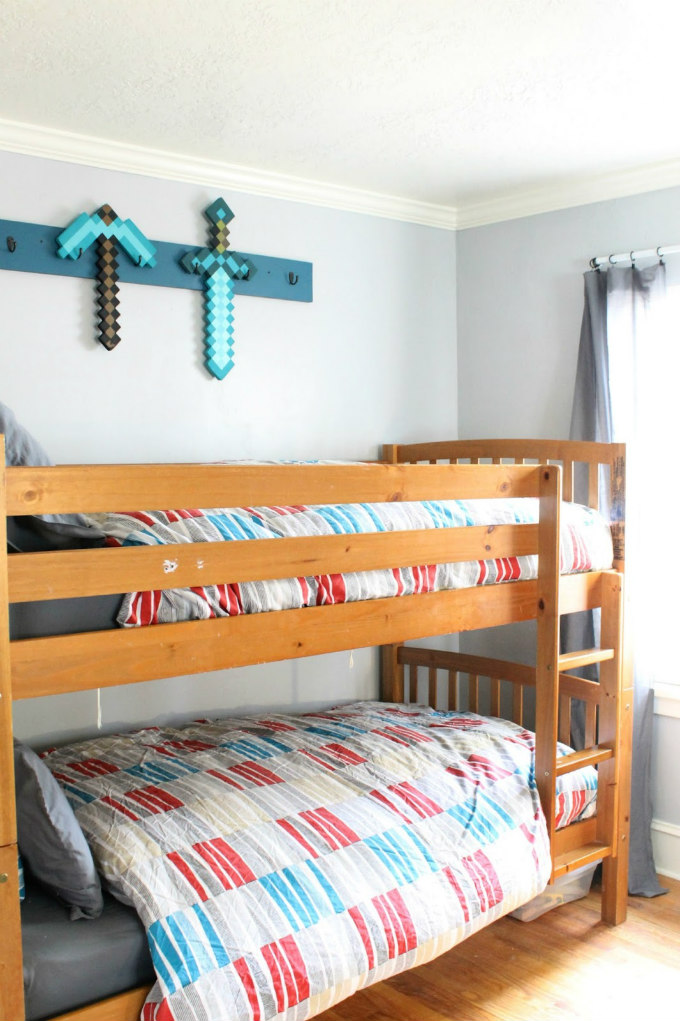 Painted Bunk Beds And Armoire In My Boy S Room The