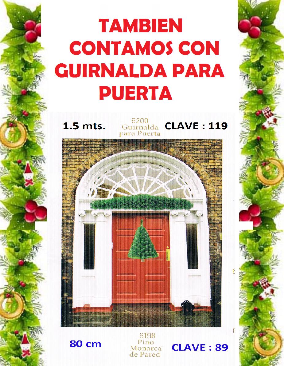 Guirnalda navide a para puerta y arbol de pared 80cm for Guirnaldas para puertas navidenas
