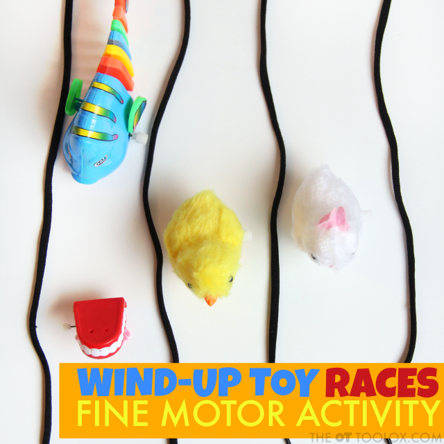 Wind up toy fine motor activity races