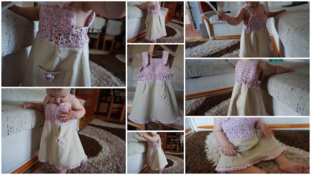 sukienka na szydełku lniania