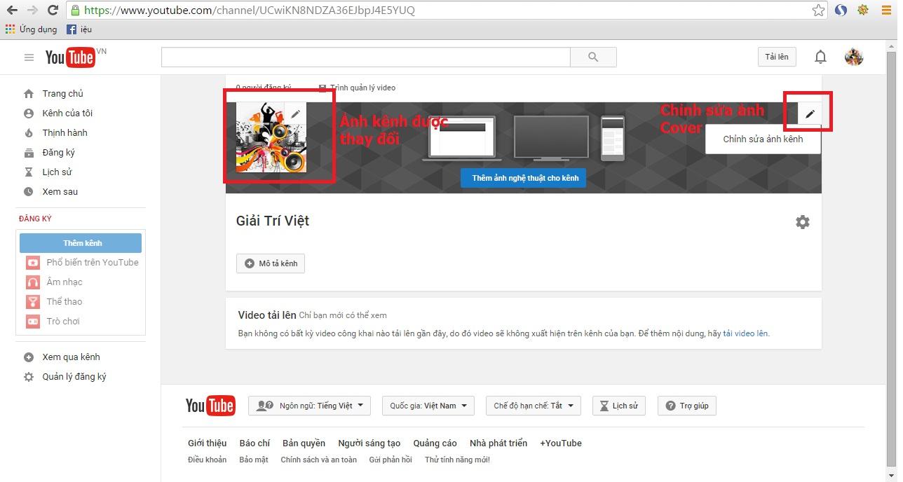 Để chỉnh sửa ảnh Cover (ảnh nghệ thuật) cho kênh, các bạn sẽ click vô phần chỉnh sửa như trong hình. Các bạn chọn hình ảnh theo để xuất của YouTube.
