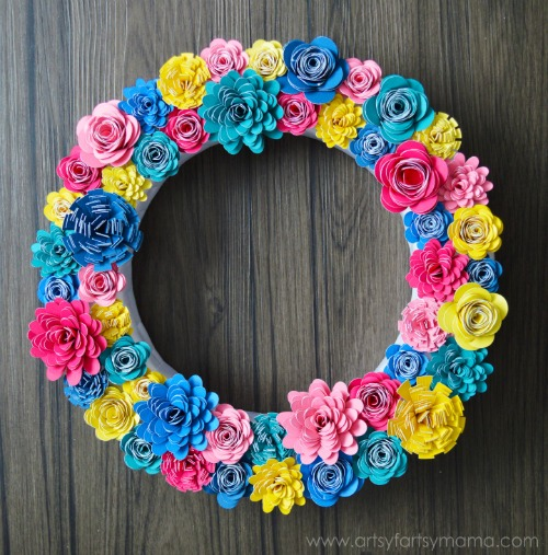 Colorful Paper Flower Wreath by Artsy Fartsy Mama