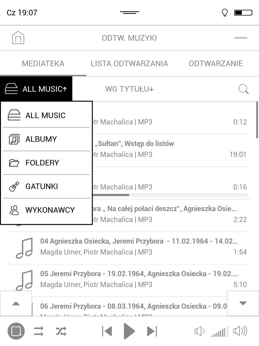 PocketBook InkPad 3 – opcje grupowania w odtwarzaczu muzyki