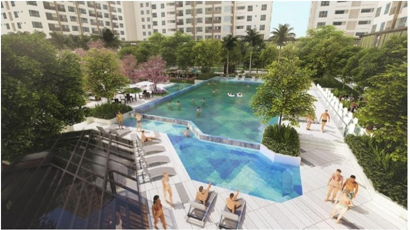 Phối cảnh hồ bơi trung tâm tại Khu đô thị Ánh sáng Akari City - Võ Văn Kiệt
