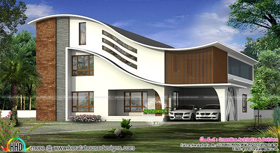 Full curved roof modern home kerala home design bloglovin for Curved roof house plans