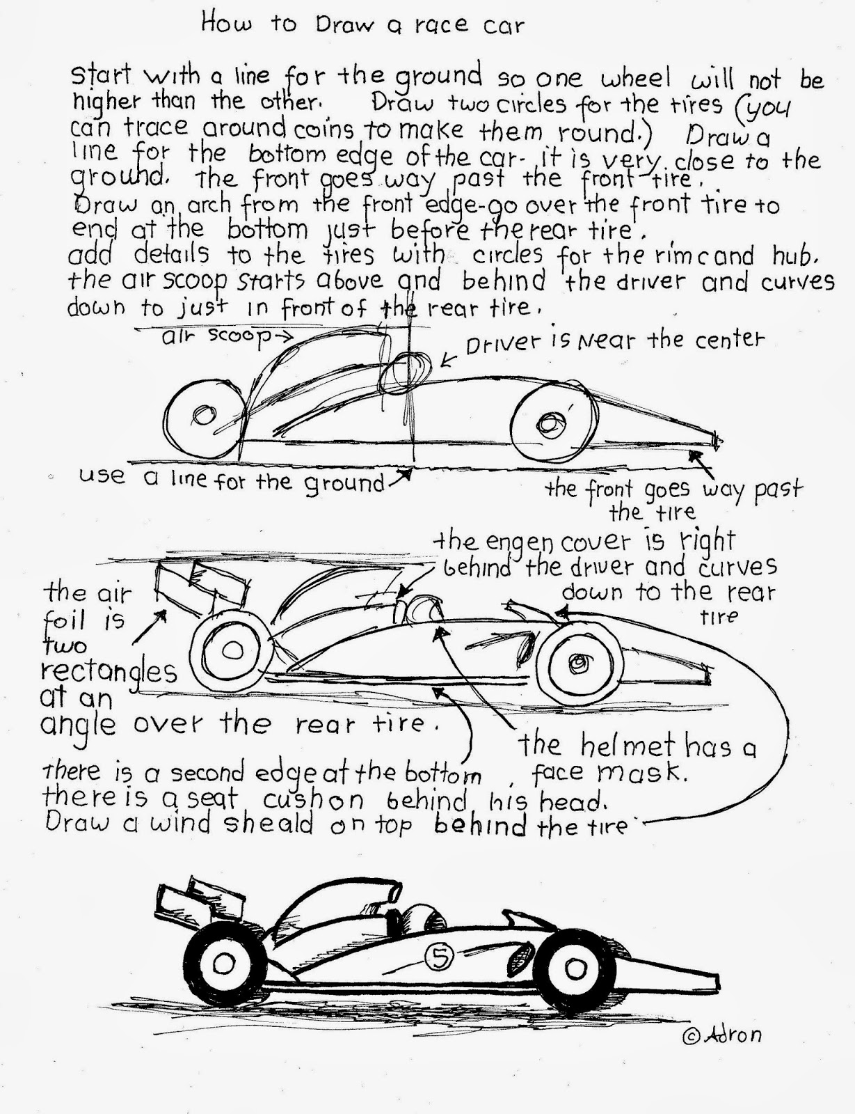 How To Draw Worksheets For The Young Artist How To Draw A Simple Racecar Free Worksheet