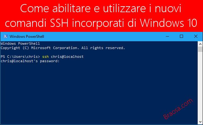 Come abilitare e utilizzare i nuovi comandi SSH incorporati in Windows 10