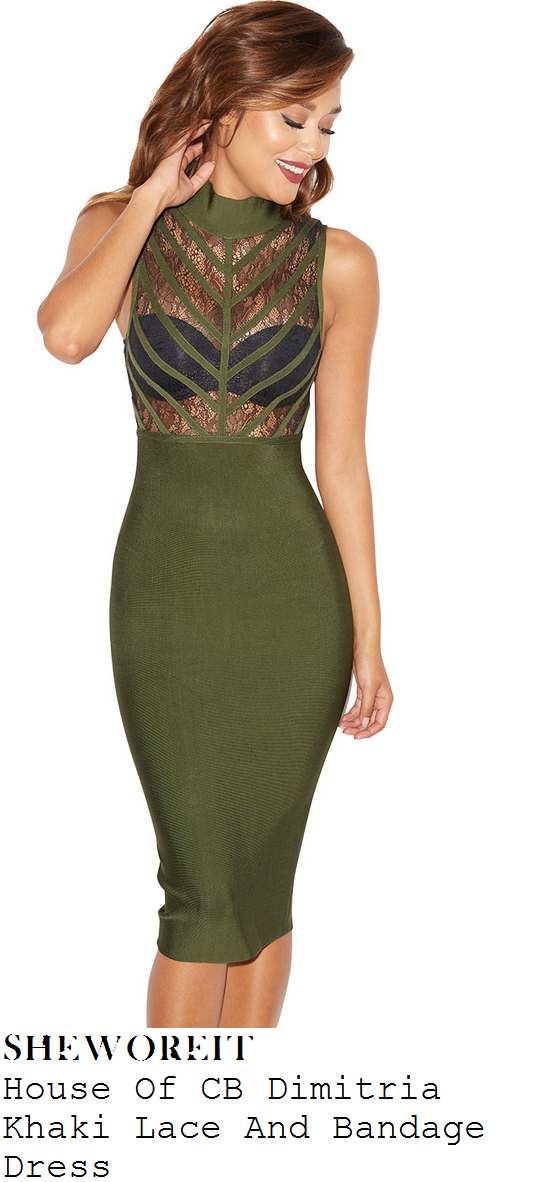 jorgie-porter-khaki-black-lace-top-bandage-dress