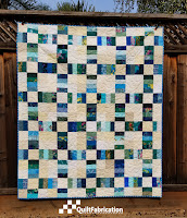 Sea Glass quilt, a railroad crossing pattern